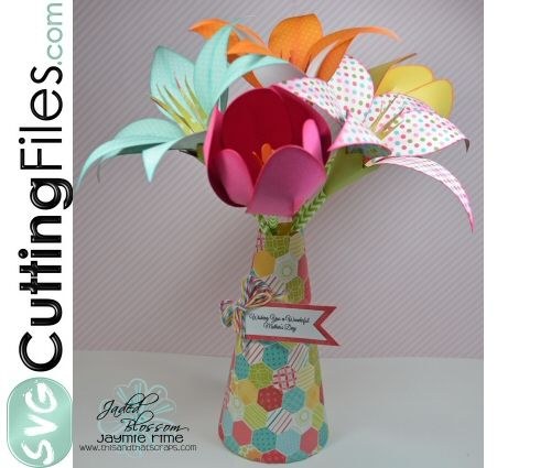 3d Vase Of Lilies And Tulips Paper Flower Tutorial Paper Flowers