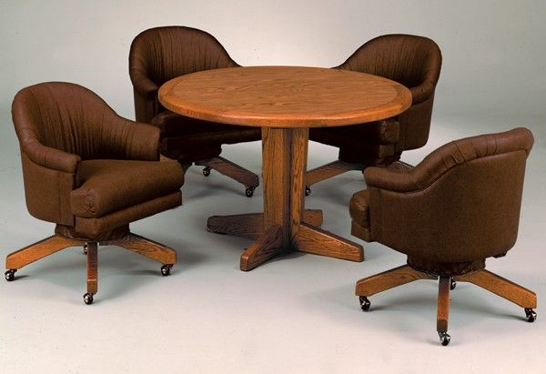 Custom Dining Set With Swivel Tilt Caster Club Chairs Made