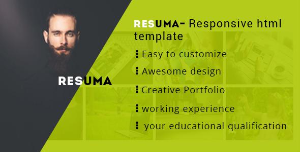Resuma  Cv  Portfolio  Resume Responsive Html Template  Resuma