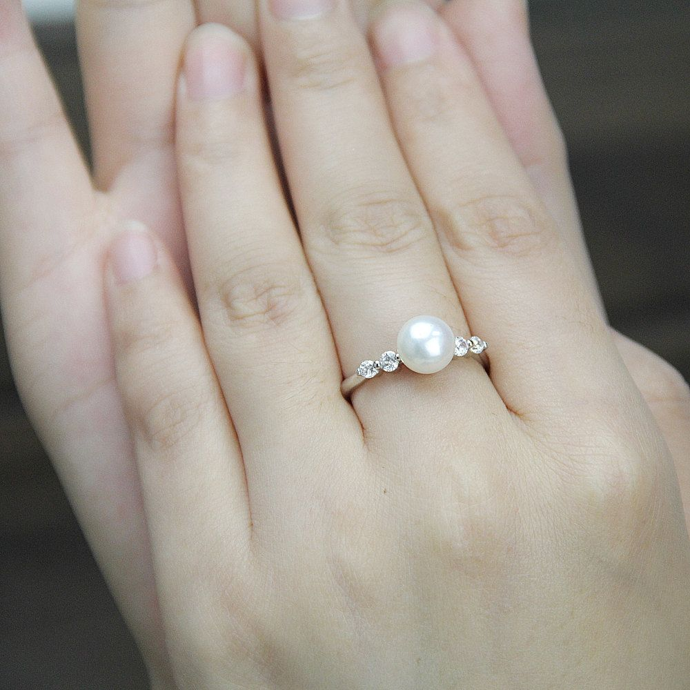 Real Pearl Ring,cubic Zirconia Engagement Rings,june Birthstone Ring,cheap  Wedding Rings