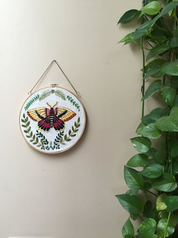 Moth hoop with ferns by TessaPerlowInc on Etsy