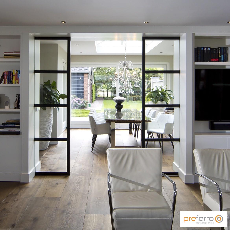 Stalen schuifdeur in woonkamer | interieur | Pinterest | Steel ...