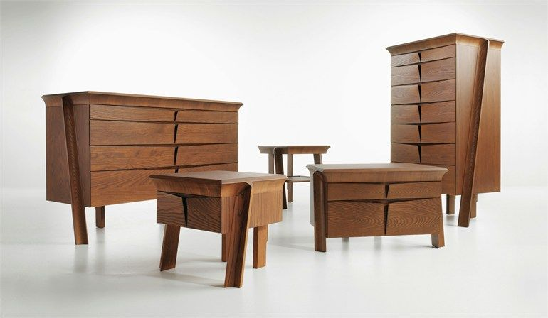 Mueble contenedor de madera maciza de diseño de pié Complementi Ardea Colección Le Ali by Eco   diseño Alberto Collovati