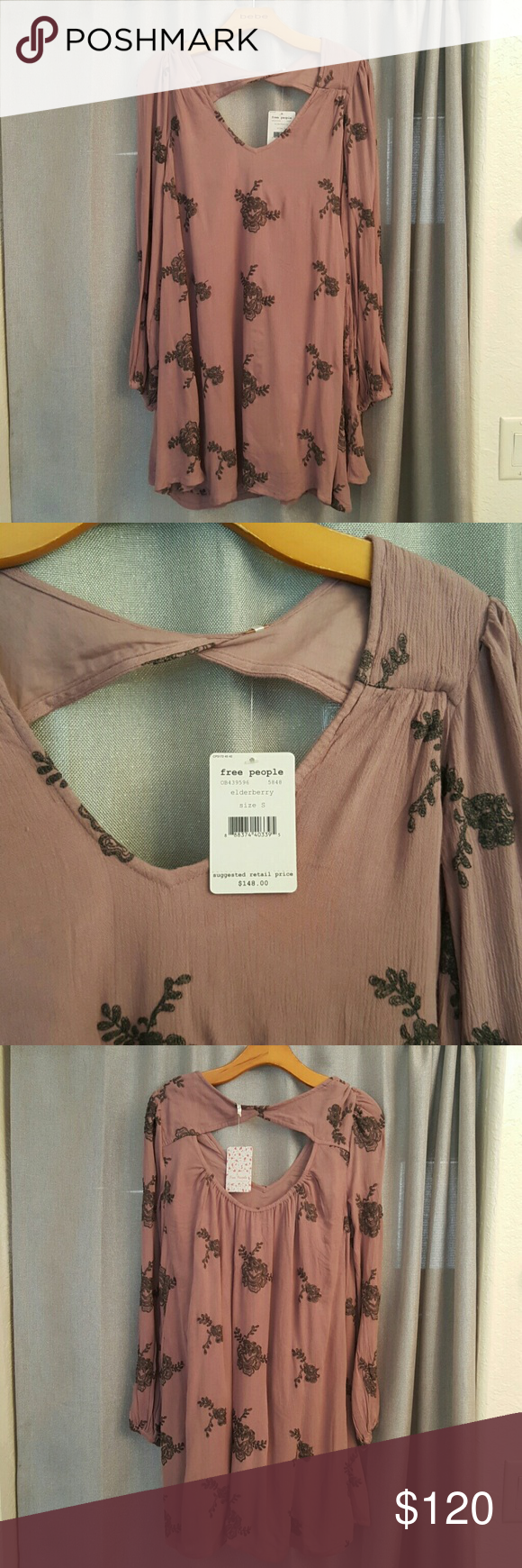 Free People Women's Emma Dress NWT! Never worn, Free People dress in the color elderberry.  Become a boho beauty in this trendy dress! Free People Dresses Long Sleeve