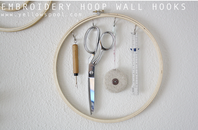 diy embroidery hoop wall hooks by yellow spool
