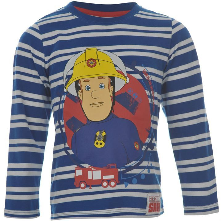 Boys Licensed Fireman Sam Long Sleeve Striped T Shirt