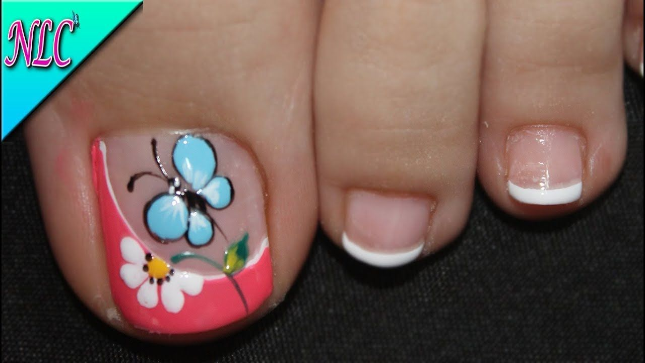 Foot Nail Design Butterfly And Flower Very Easy To Do Butterfly Nail Art Nlc Uñas Sencillas Y Bonitas Diseños De Uñas Mariposas Arte De Uñas De Pies