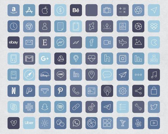 640 Storm Blue Aesthetic iOS 14 App Icons / Social