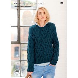 Cable Front Sweater in Rico Essentials Merino DK - 179 | Knitting Patterns | LoveKnitting
