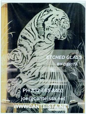 """""""TIGER  10 FT TALL SANDBLASTED  ETCHED IN GLASS"""" #Creative #Art in #painting @Touchtalent http://bit.ly/Touchtalent-p"""