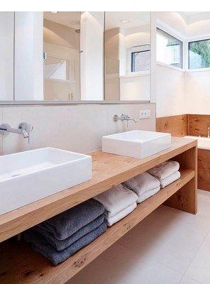 Mensola da bagno linear in legno massello di castagno 180x50x75 ...