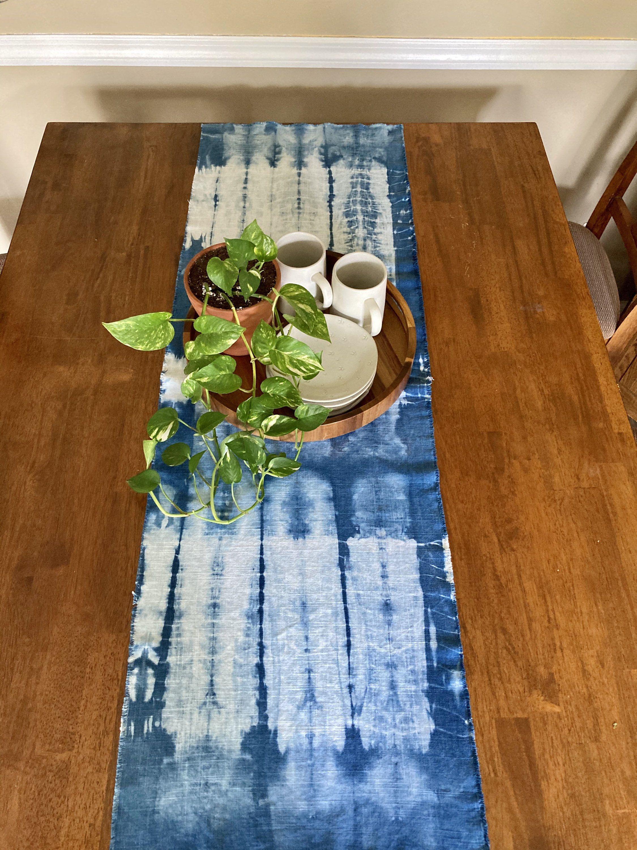 19x56 Charcoal Shibori Linen Table Runner Hand-dyed