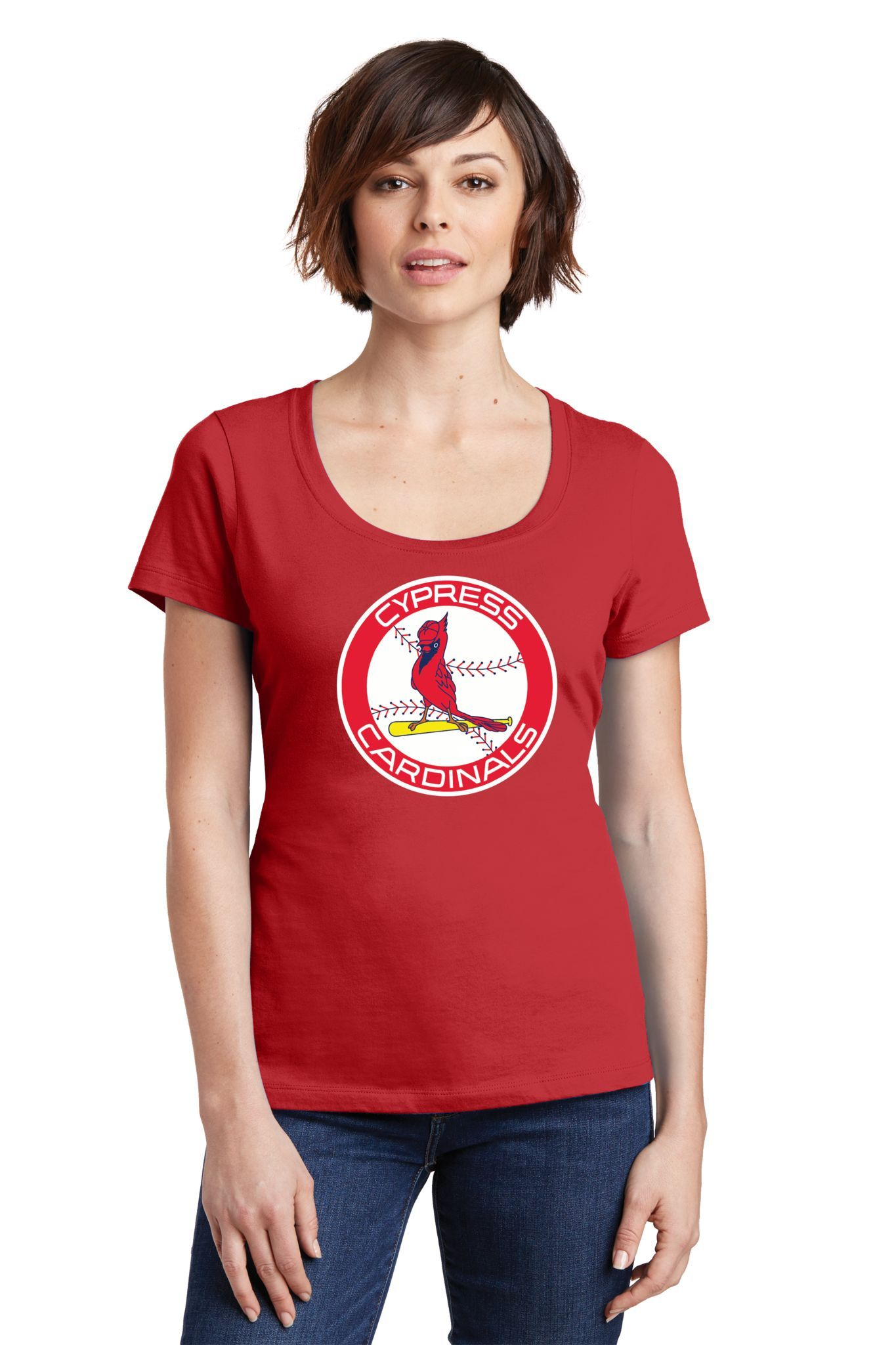 Cypress Cardinals Ladies Scoop T-Shirt