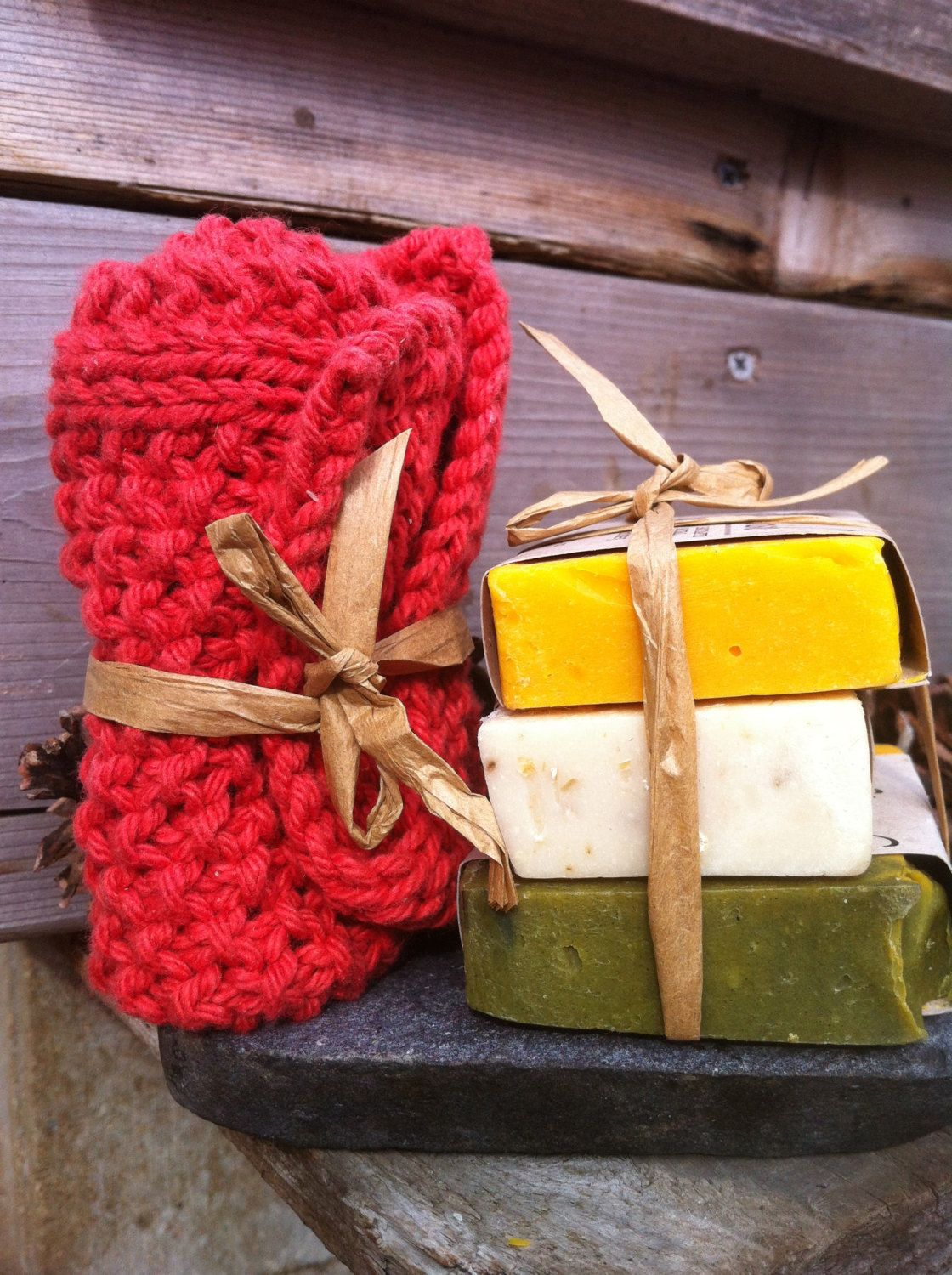 Natural Soap Three Sample Pack and Free Handmade Wash Cloth, Small Batch, Lavender and Bergamot Essential Oils, Exfoliating Soap, Oats Honey by FlourishSoaps on Etsy