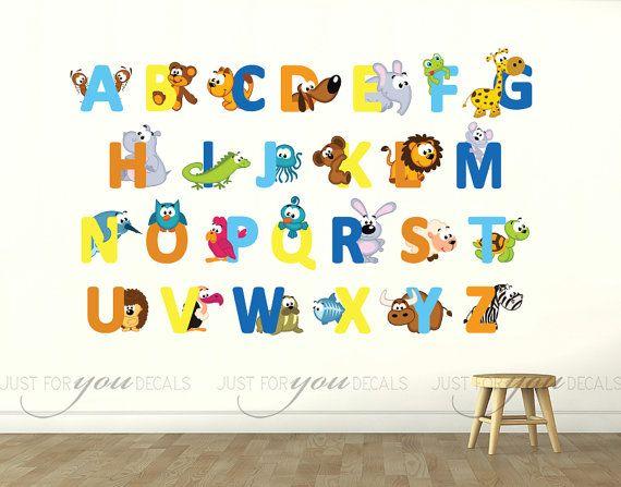 Alphabet Wall Decal - Alphabet Animal Wall Decal - Playroom Wall Decal Nursery Wall Decal Nursery Wall Art - Animal Wall Decal 01-0034  sc 1 st  Pinterest & Alphabet Wall Decal - Alphabet Animal Wall Decal - Playroom Wall ...