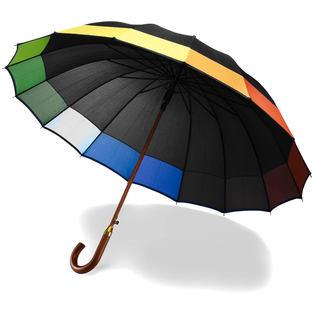 16 Panel Black Rainbow Umbrella #largeumbrella