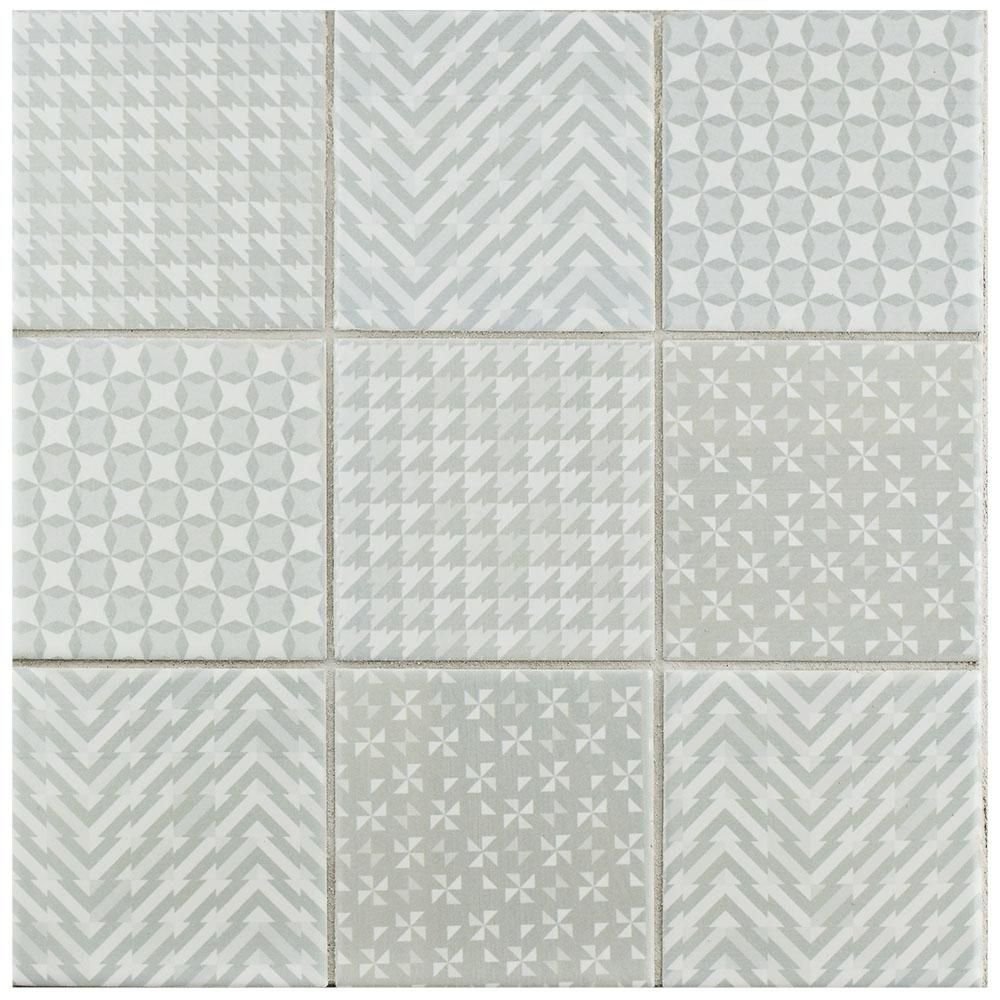 Merola Tile Geobright Grey 11-5/8 in. x 11-5/8 in. x 6 mm Porcelain ...