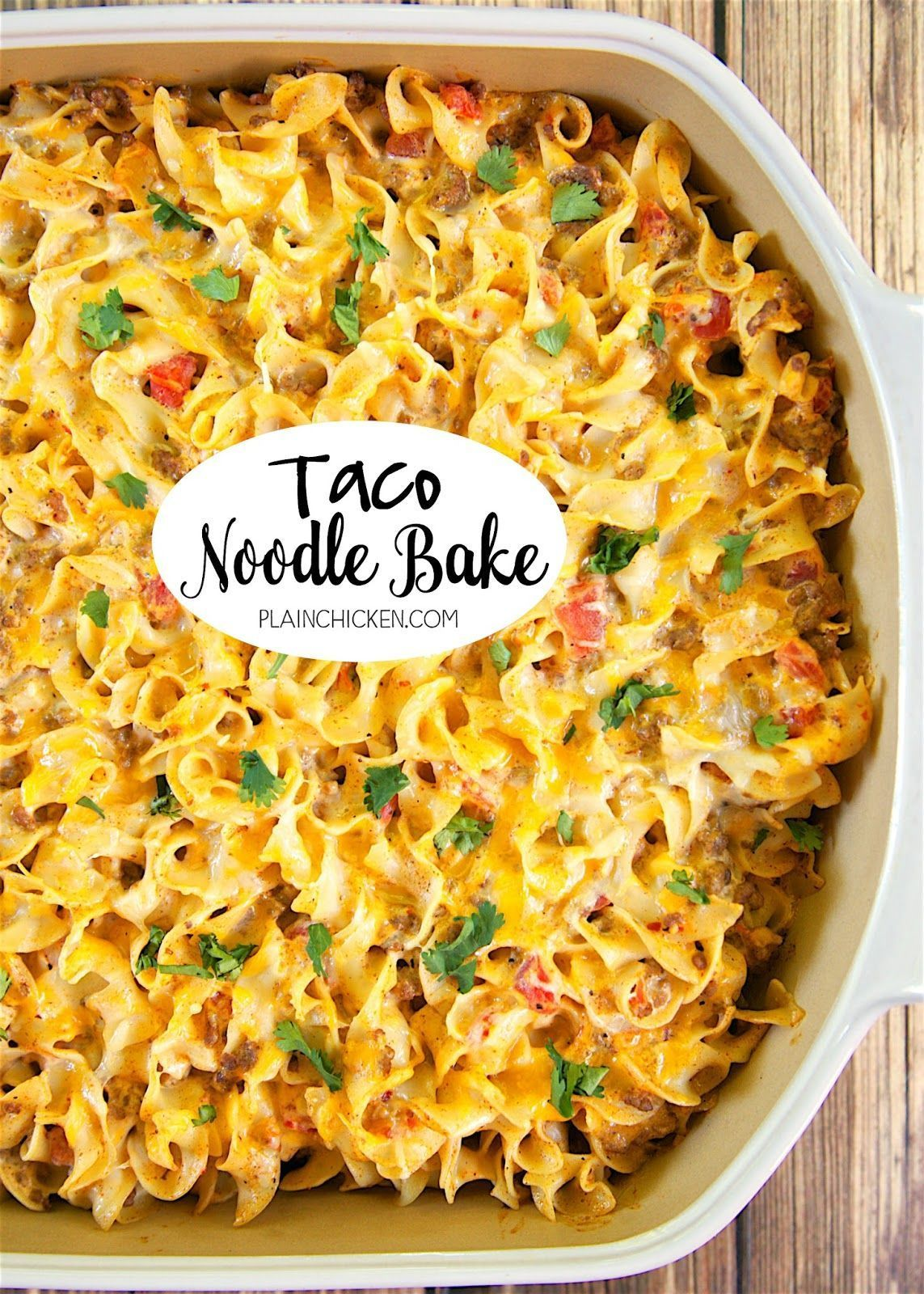 Taco Noodle Bake - SO good!!! Egg noodles, taco meat, cheese, diced tomatoes and green chiles, cheddar cheese soup and sour cream. Everyone cleaned their plate and asked for seconds! Makes a great freezer meal too!! LOVE this easy Mexican casserole!!! #sourcreamnoodlebake Taco Noodle Bake - SO good!!! Egg noodles, taco meat, cheese, diced tomatoes and green chiles, cheddar cheese soup and sour cream. Everyone cleaned their plate and asked for seconds! Makes a great freezer meal too!! LOVE this e #sourcreamnoodlebake