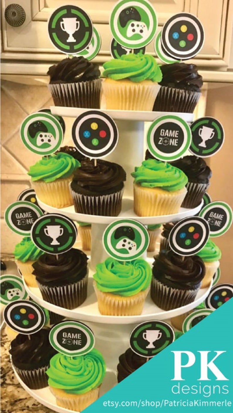 Printable Cupcake Toppers Video Game Party Game Zone Controller