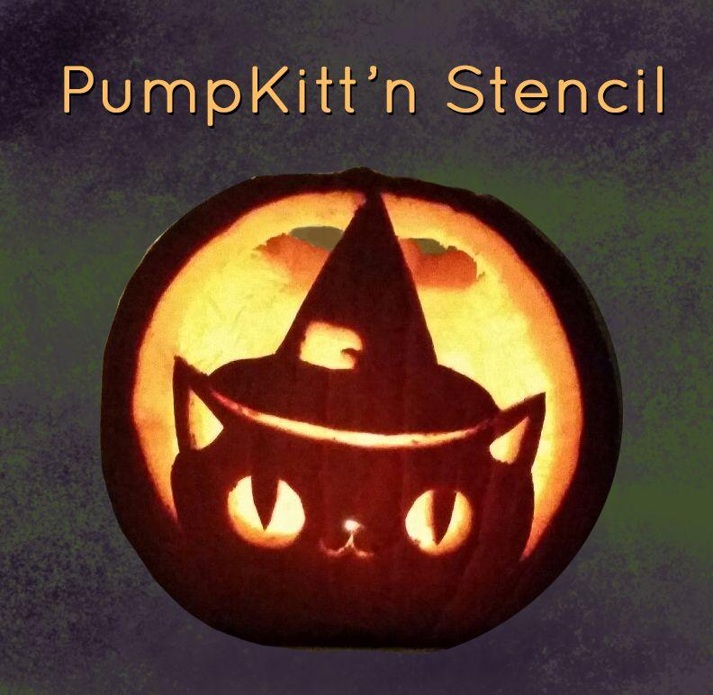 Cute Kitten Pumpkin Carving Stencil For Cat Lovers