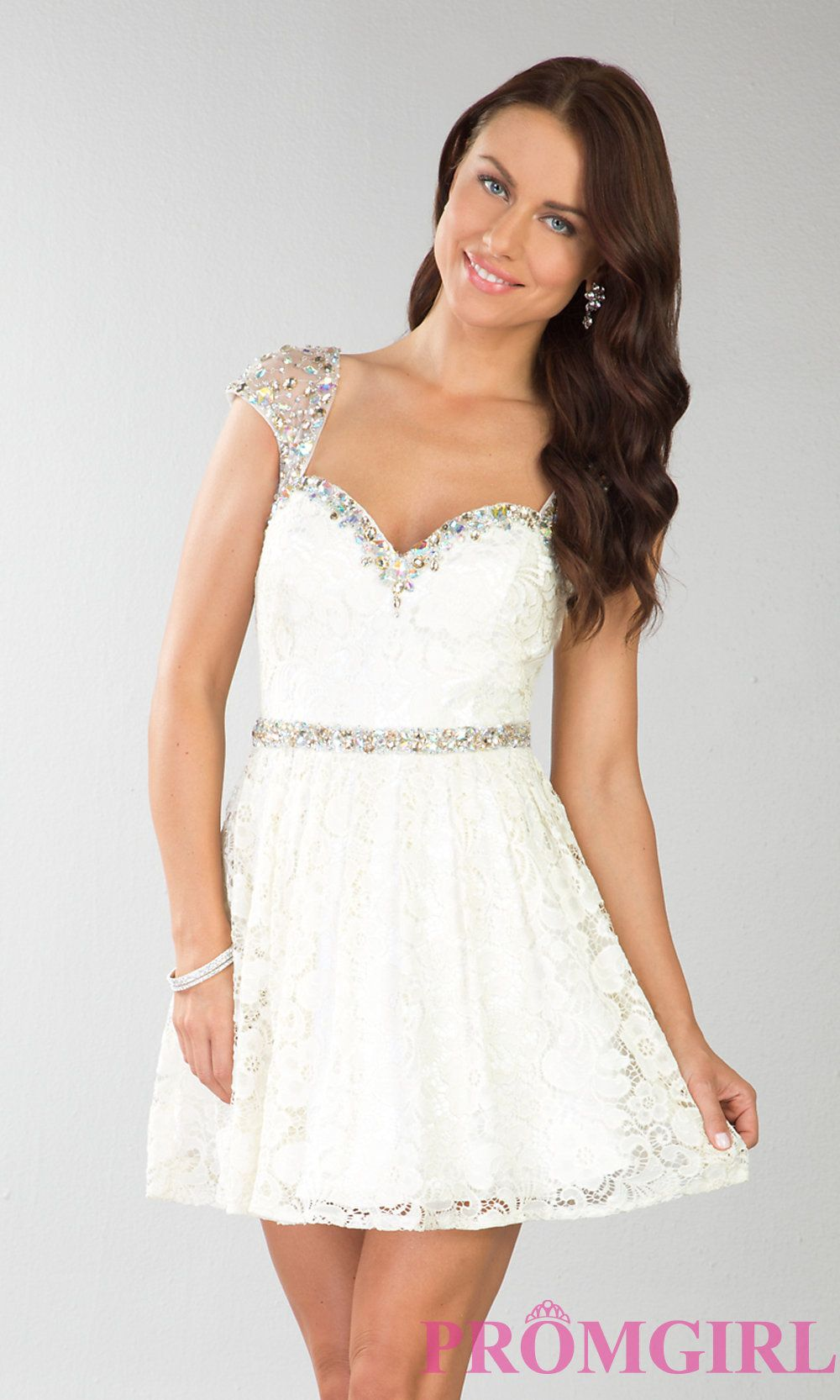 Short Cap Sleeve Cocktail Dress Short Lace Prom Dress Promgirl