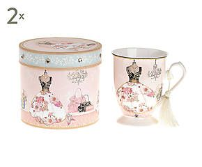 Set di 2 mug in porcellana con scatola regalo Dress - 12x11x12 cm