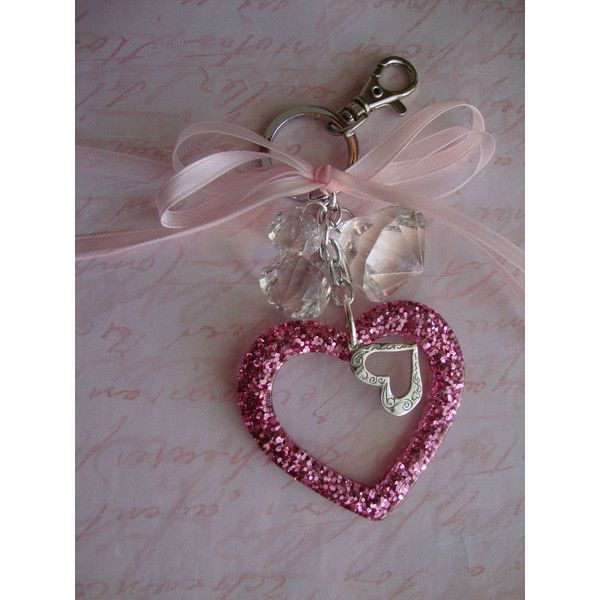 KEYCHAIN, PURSE CHARMS, LOVELY In PINK, A QUEENLY PINK HEART, Designed... ($18) ❤ liked on Polyvore featuring jewelry, pendants, pink heart jewelry, charm jewelry, heart jewelry, heart shaped charms and glitter jewelry