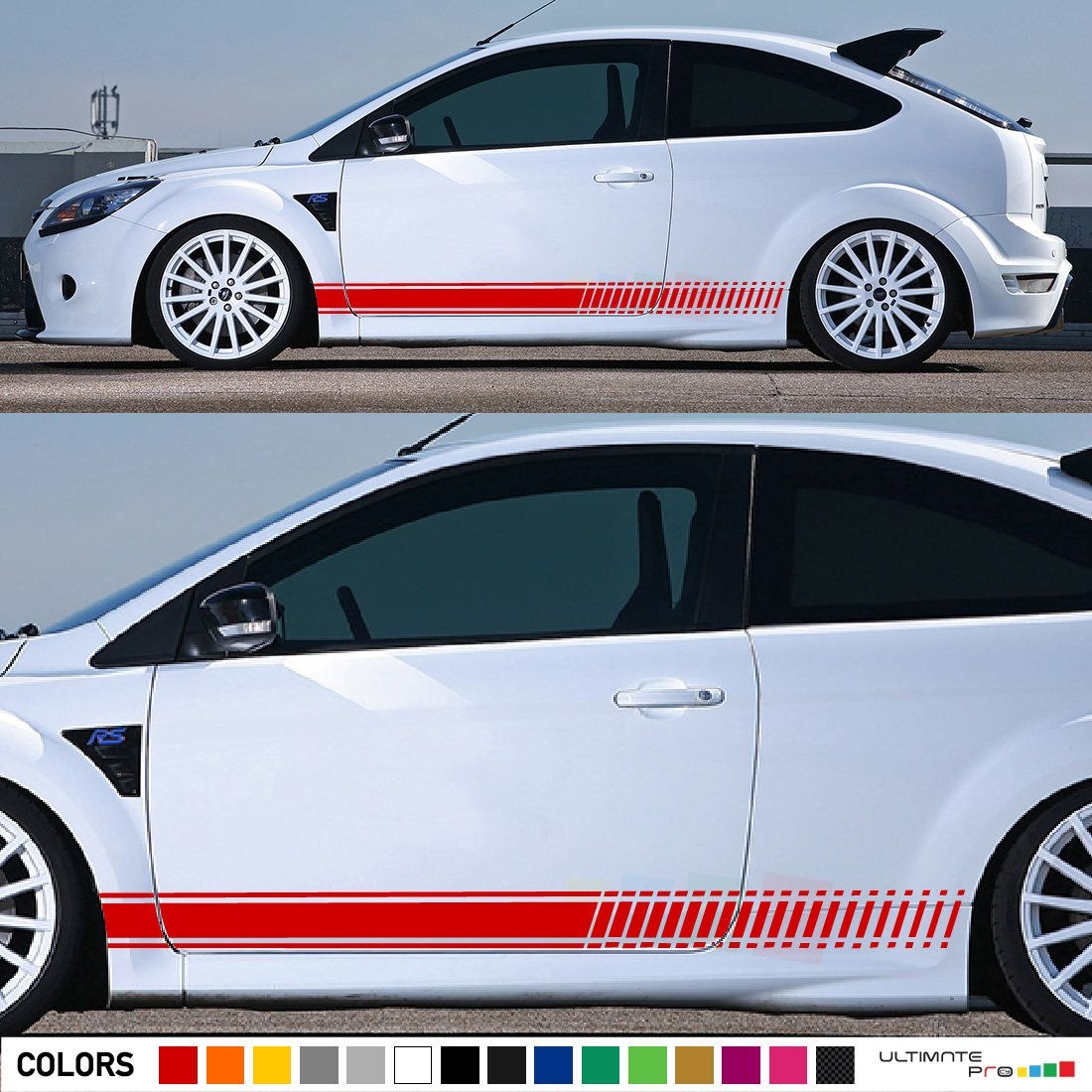 Kit Decal Sticker Vinyl Side Racing Stripes Compatible With Ford Focus St Rs Mk2 2 Door 2004 2016 Ford Focus St Custom Stripes Ford Focus [ 1100 x 1100 Pixel ]