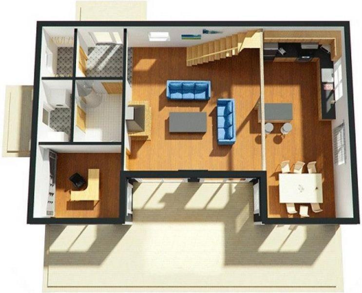 planos de casas de 2 pisos y 3 dormitorios en 3d