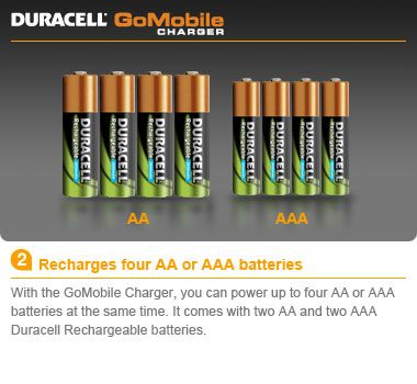 Amazon Com Duracell Go Mobile Charger Rechargeable Includes Duracell Rechargeable Batteries Mobile Charger