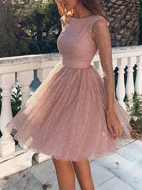 Photo of Rosa Glitzer Mesh Plissee Rückenfreies Rundhals Langarm Midikleid Cocktailkleid…