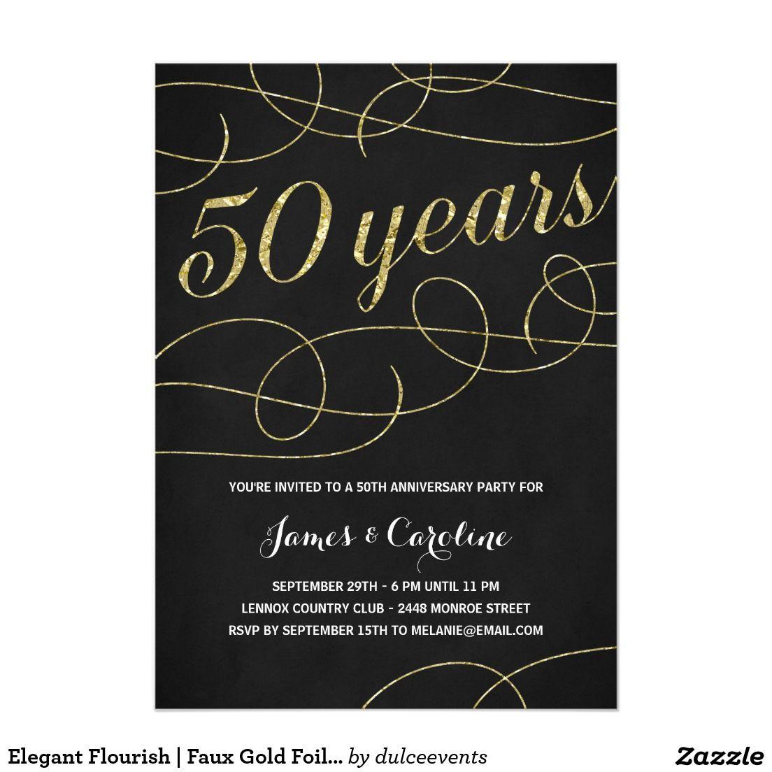 Elegant Flourish | Faux Gold Foil 50th Anniversary 5x7 Paper Invitation Card