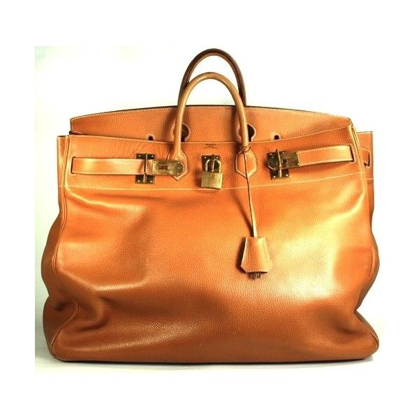 a2e7928b04 Pre-Owned Hermès Vintage Gold Ardennes Leather 55cm Birkin Bag (36.800 BRL)  ❤ liked on Polyvore featuring bags