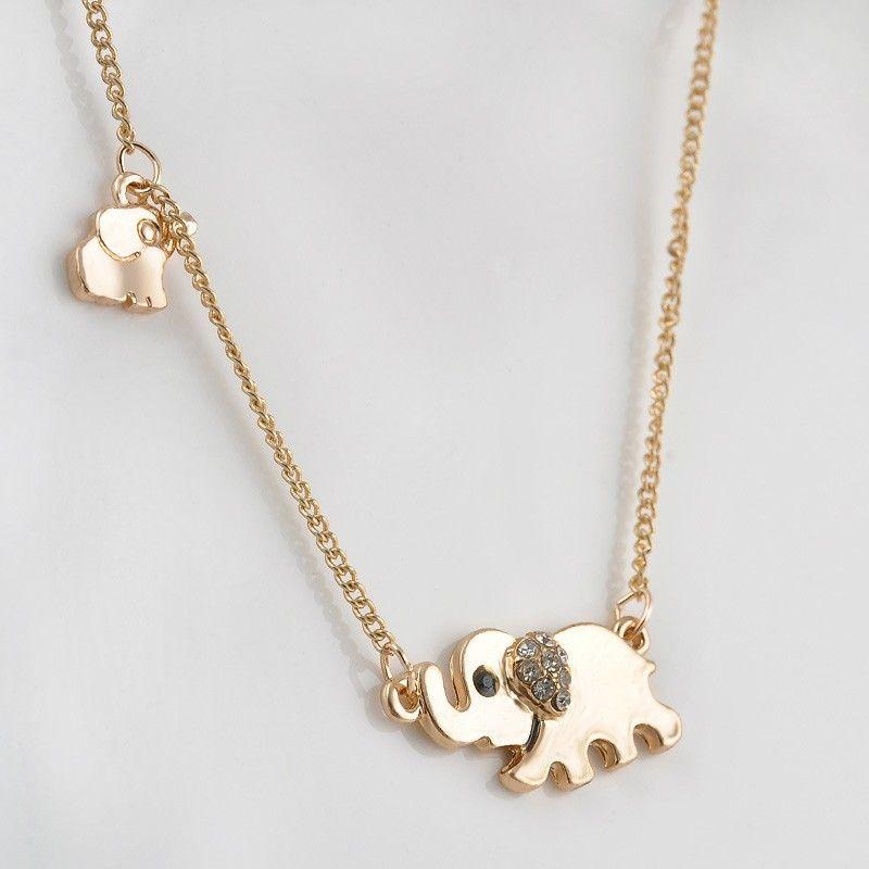 Sparkling Buona Fortuna Oro Doppio Elefante Passeggiata Pendente di Disegno Della Collana Punk Collana di Dichiarazione Monili Delle Donne