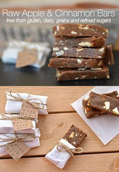 Raw Apple & Cinnamon Protein Bars. These are dairy-free, gluten-free…