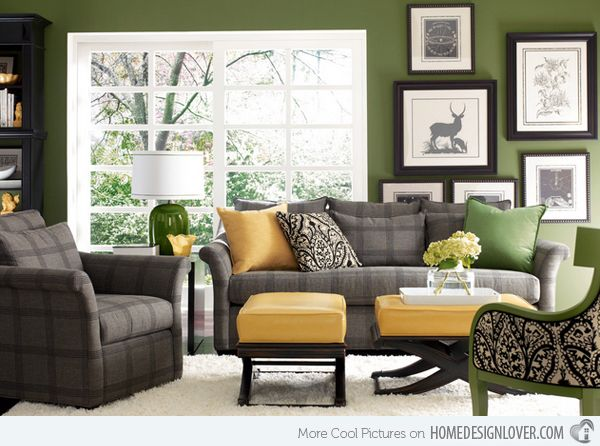 20 Refreshing Green-Themed Living Rooms | Living rooms, Room and ...