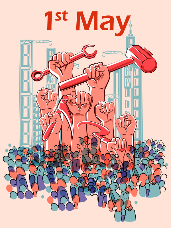 Download 1 May International Workers Labor Day Poster Hand Drawn Vector 10 In Eps Format Day Drawn Hand Labor Day Crafts International Workers Day Labour Day