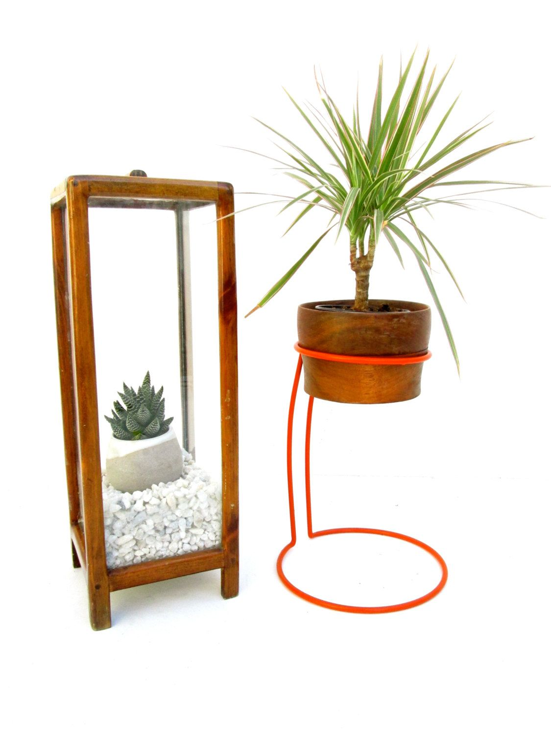 Modern Mid-Century Iron Planter Stand || Orange Color Pop Space Age Decor by ELECTRICmarigold on Etsy
