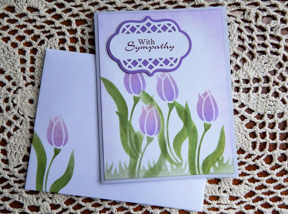 Handmade Sympathy Card: tulip, purple, green, greeting card, cards ...