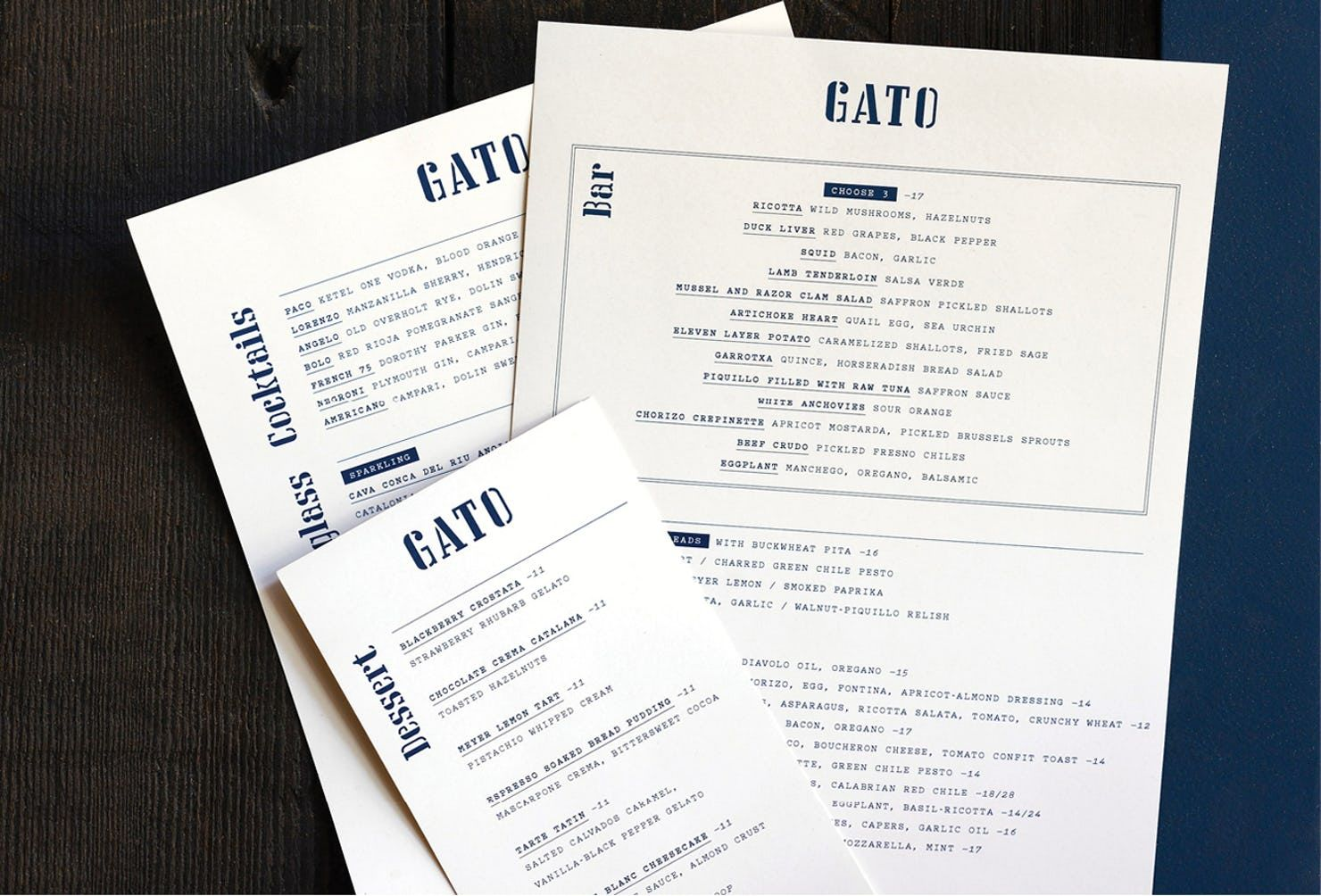 the contemporary typewriter font pitch brings menus a downtown