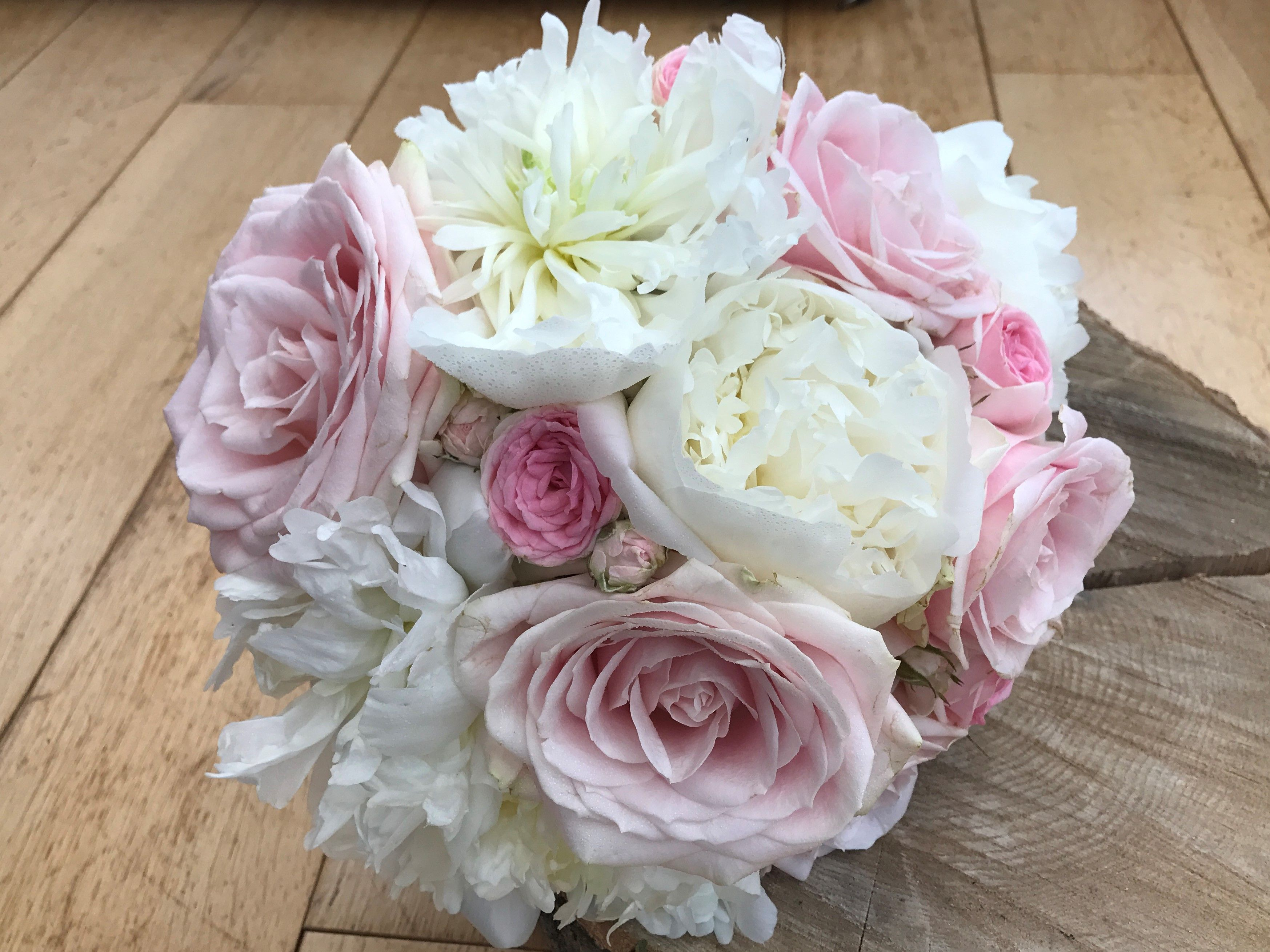 White And Pink Wedding Bouquet, Bridal Bouquet, Peony And