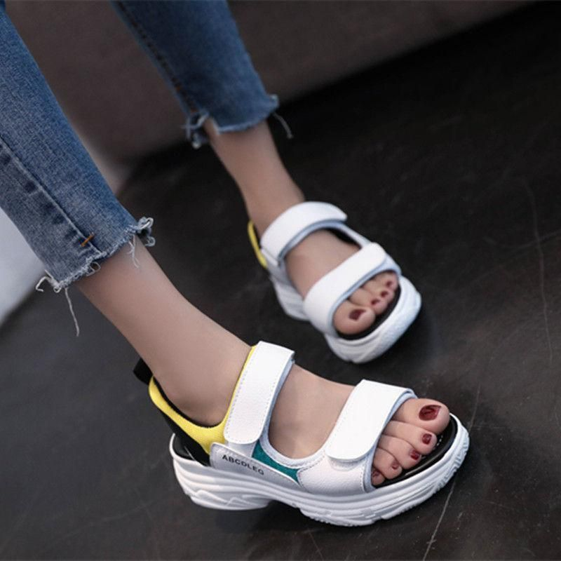 325aec2c892 2018 Korean Fashion Summer Women Sandals Flat Ladies Open Toe Buckle Strap  Platform Outdoor Casual Sneakers