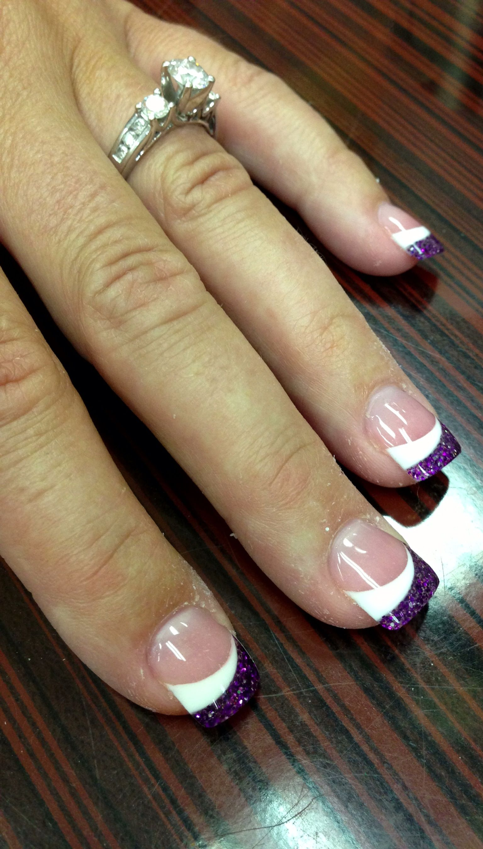 Wedding nails. Acrylic with glitter swoop design. With pink instead ...