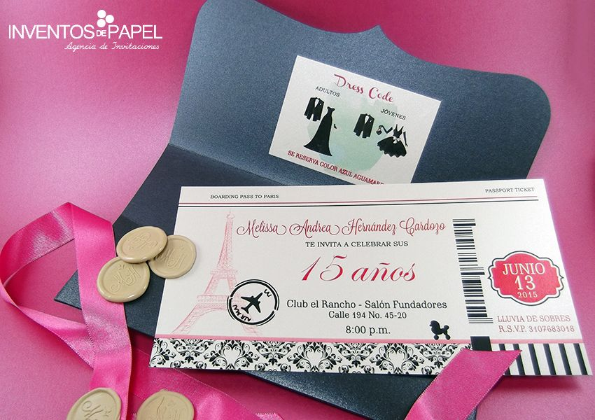 Tarjeta De Invitación De 15 Años París Tarjetas Invitacion