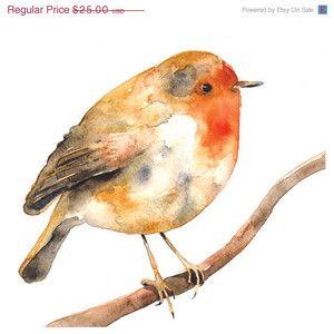 ON SALE Rockin' Robin Watercolor Illustration Bird Print Ora ...