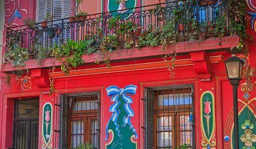 Building red blue green street light .