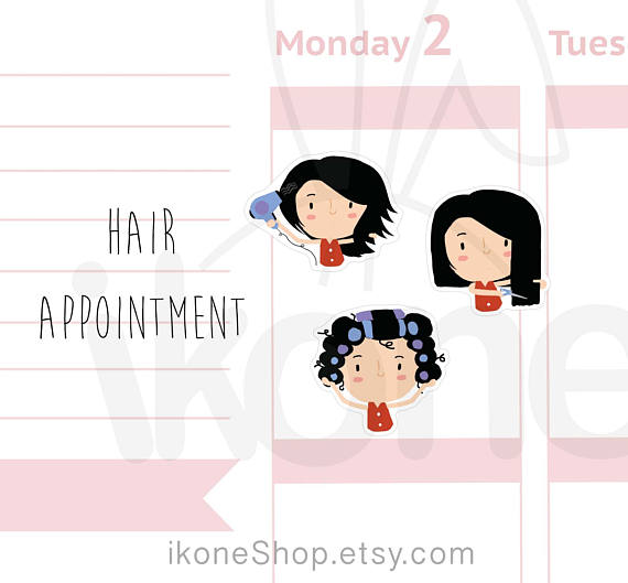 Hair appointment Planner Stickers Salon Girl Planner Life - appointment planner