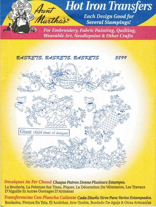 Baskets #3899 Aunt Martha\'s Embroidery Transfer Designs Pattern ...