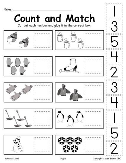 free printable winter counting and matching cut and paste worksheet worksheets activities. Black Bedroom Furniture Sets. Home Design Ideas