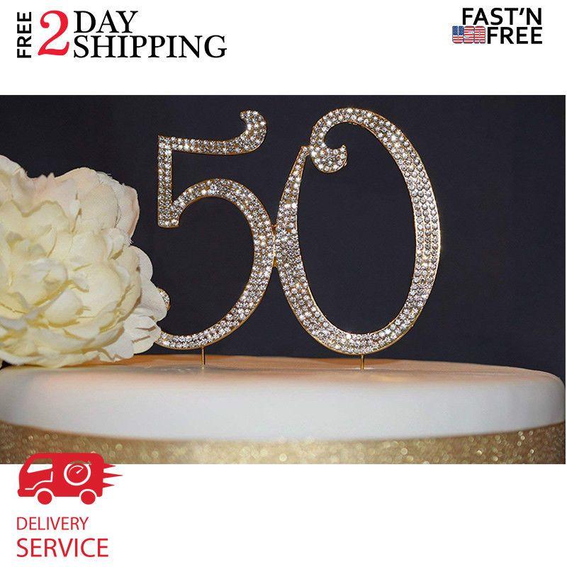 50 GOLD Cake Topper Premium Sparkly Crystal Rhinestones
